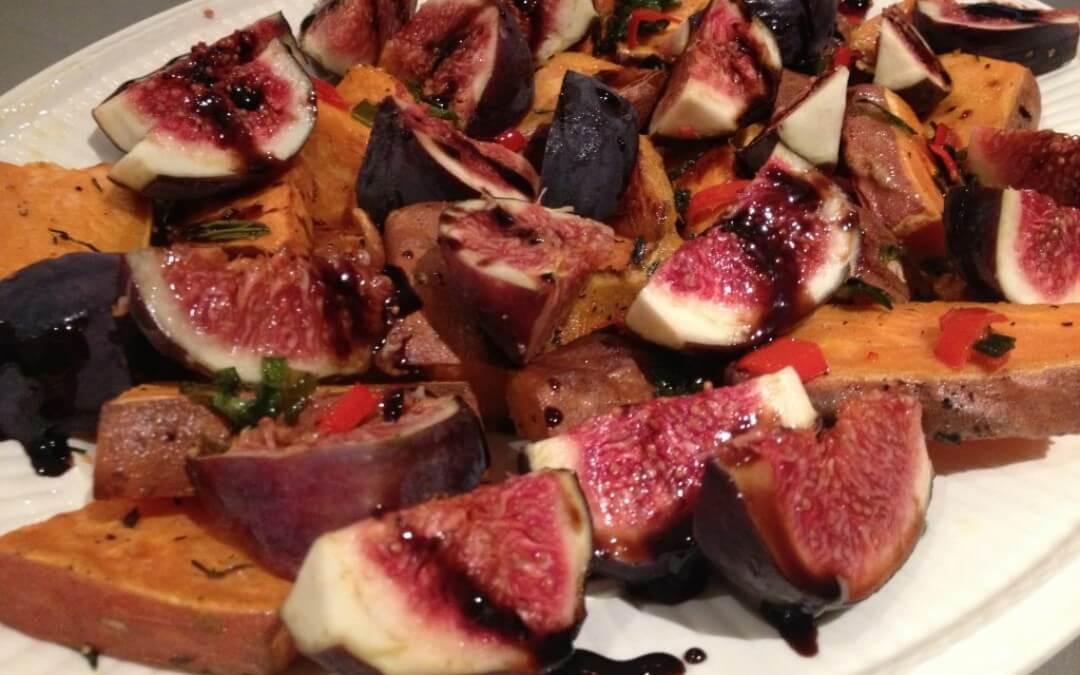 Zoete aardappel met vijgen uit de oven