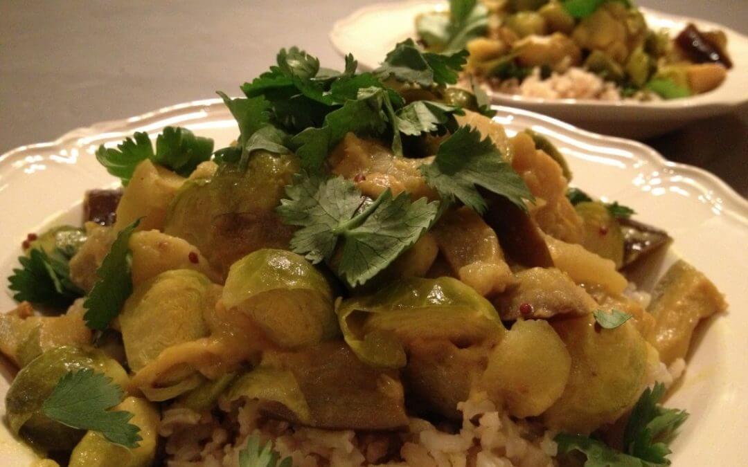 Curry met spruiten, aubergine en appel